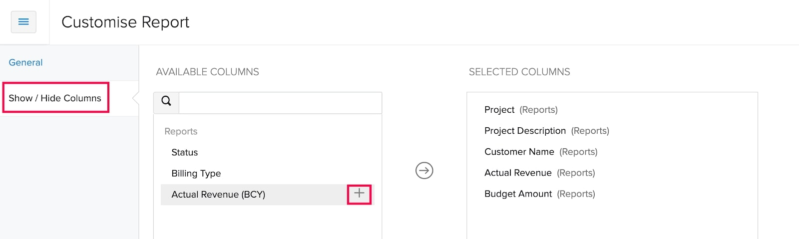 Show or Hide Columns Project Revenue Summary