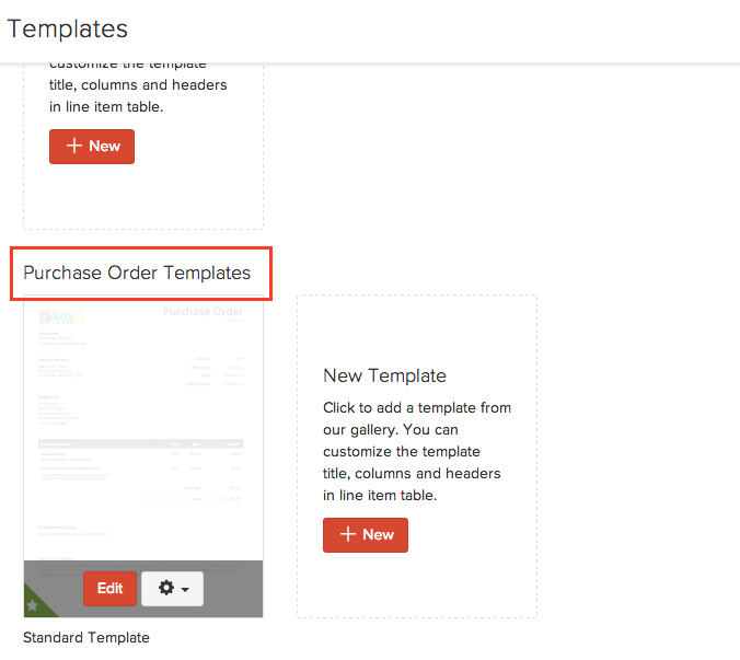Customize purchase order templates