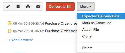 More Actions in purchase order