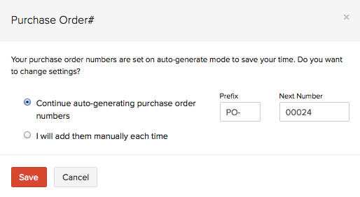 purchase order numbers