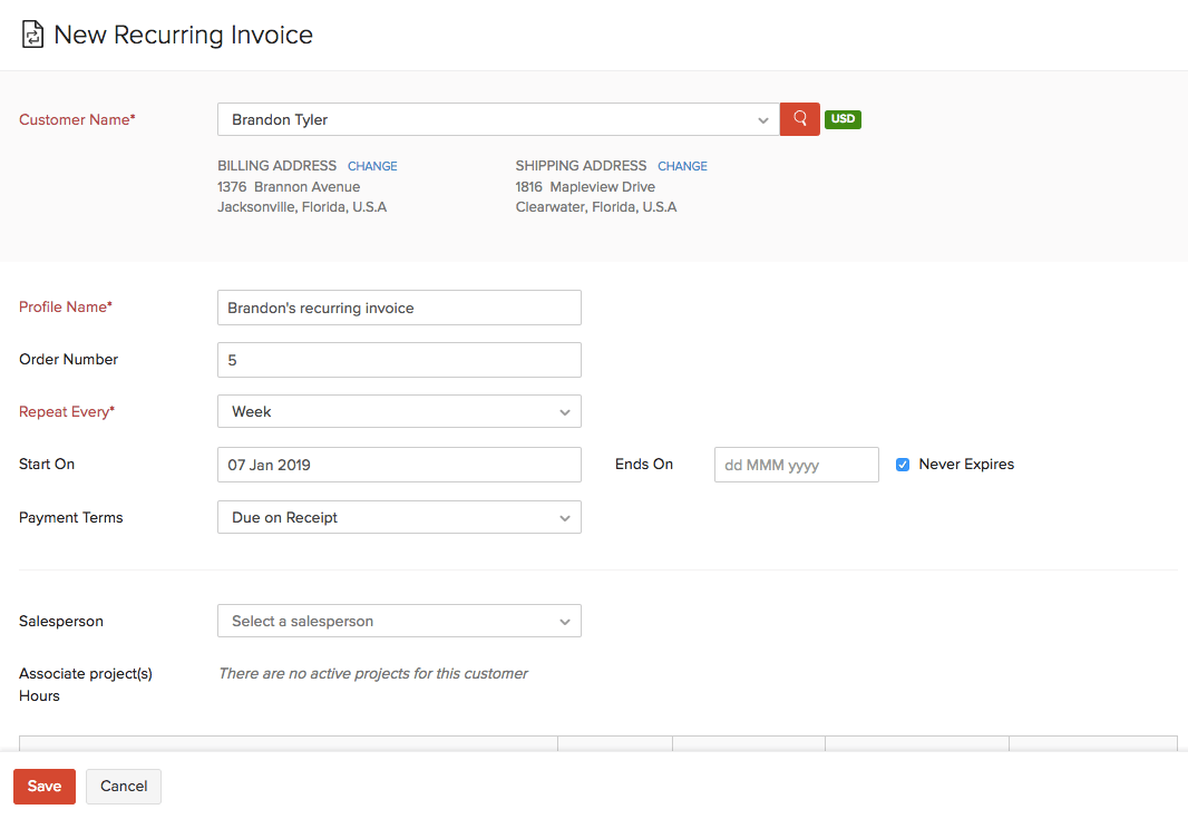 Create Recurring Invoice
