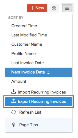 Export Recurring Invoices