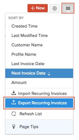 Export Recurring Invoices