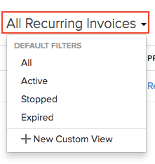 Filter Recurring Invoices