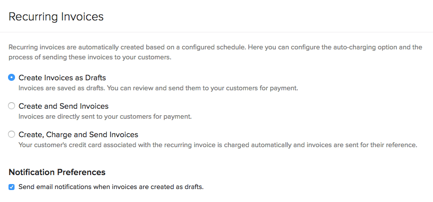 Recurring Invoice Preferences
