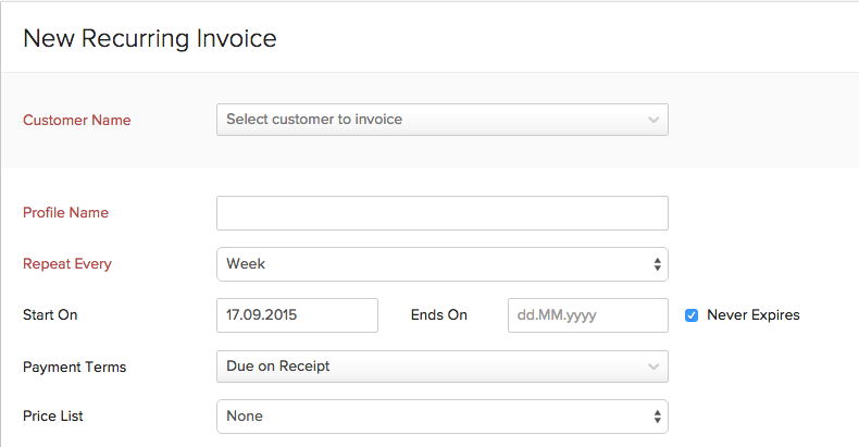Create Recurring Invoices User Guide Zoho Books - Create and send invoices