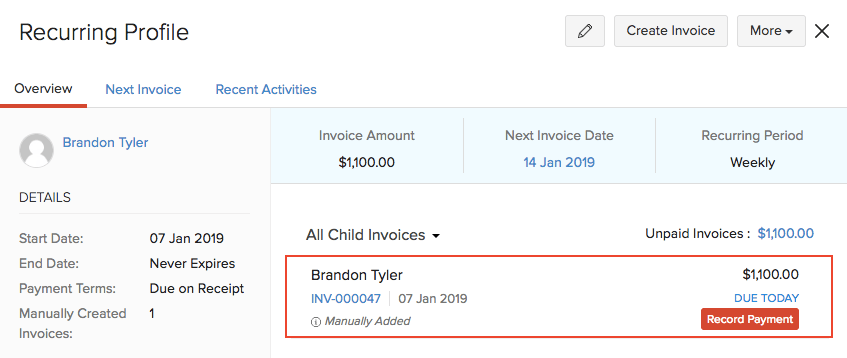 Recurring Invoice Workflow Help Zoho Books