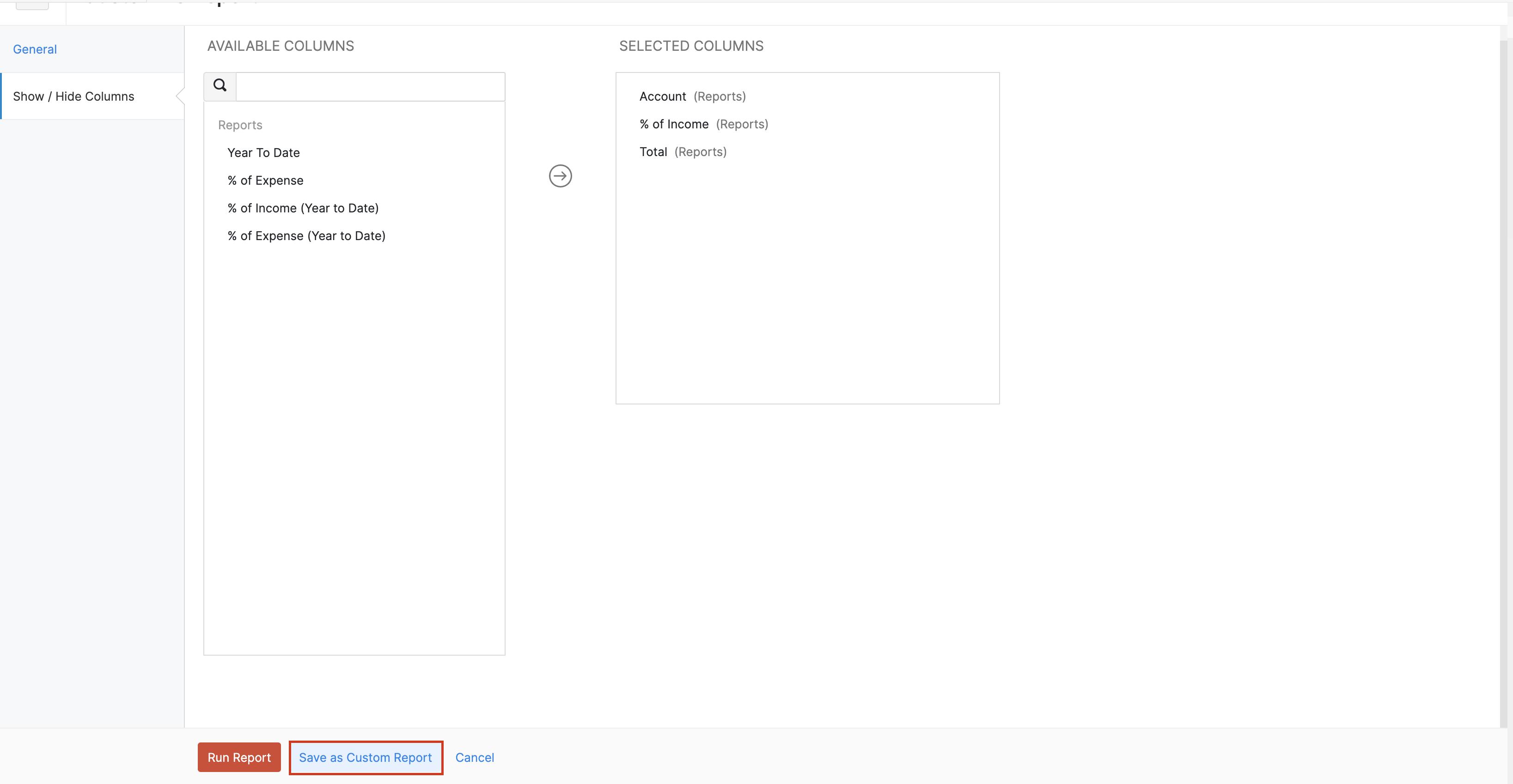 Save as custom report
