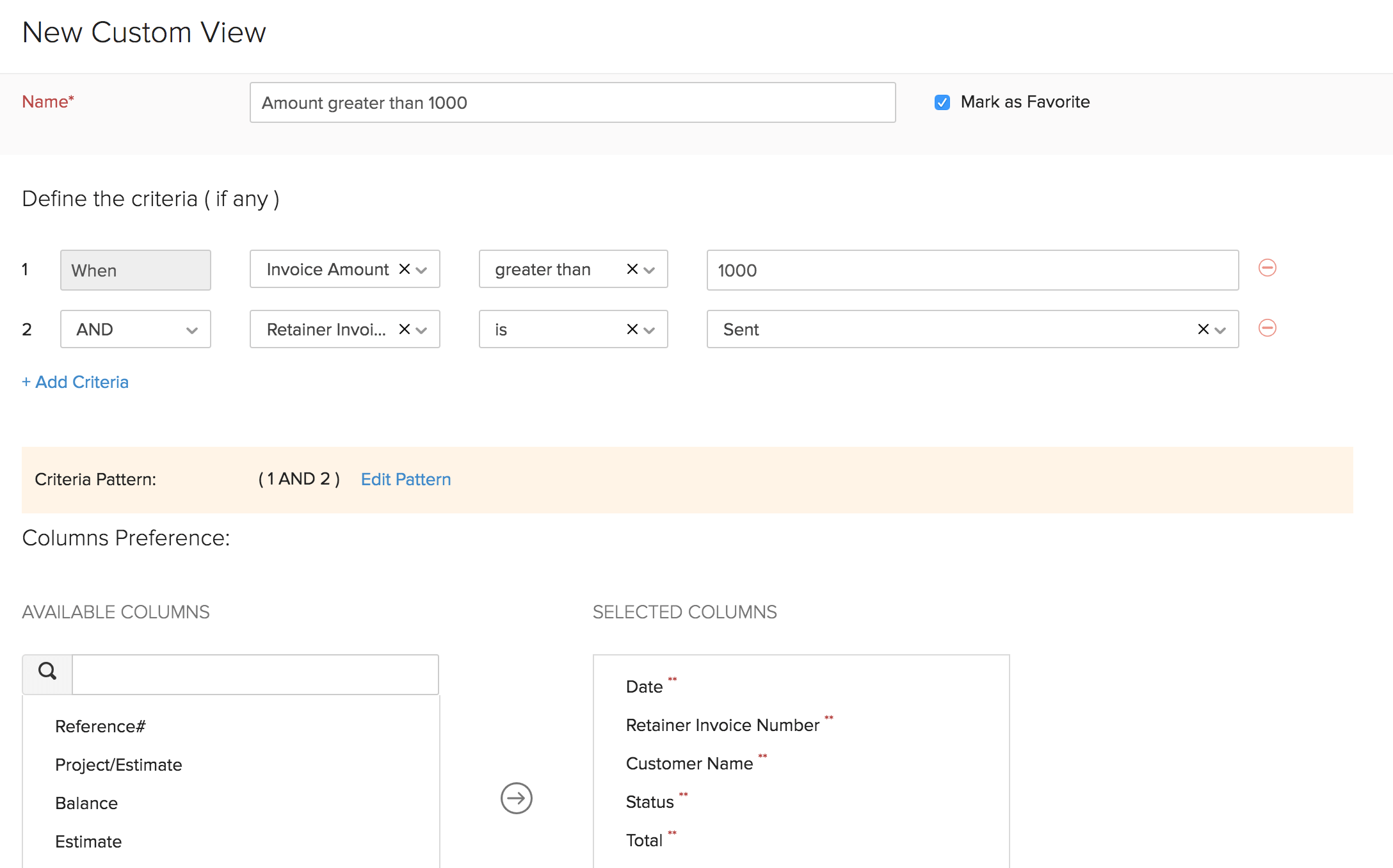 Custom View Retainer Invoice