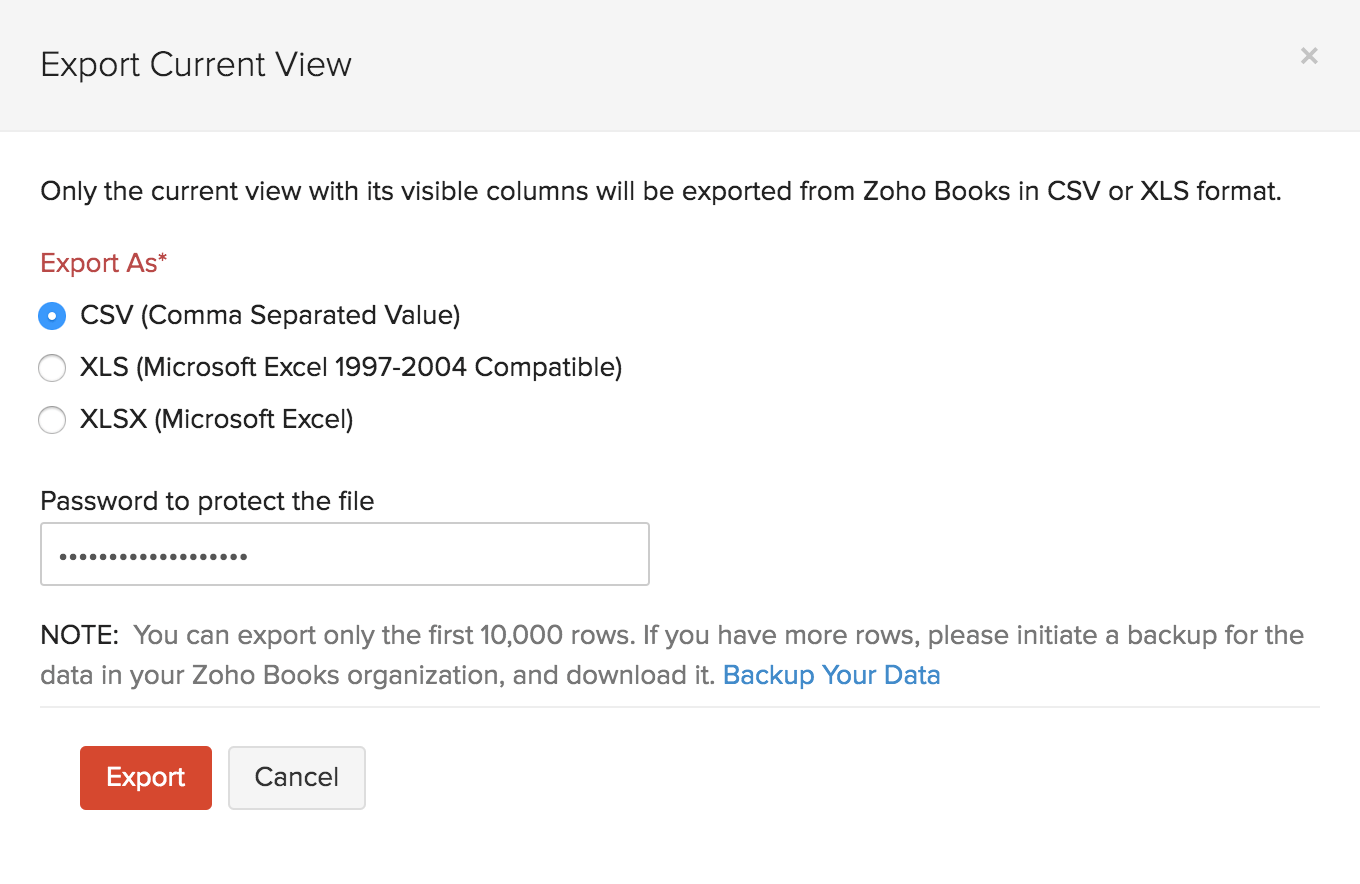 Export Custom View Retainer Invoices