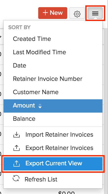 Export Custom View Retainer Invoices