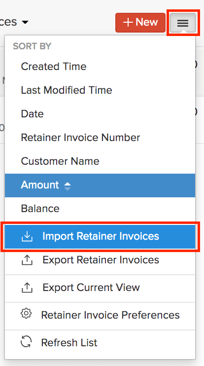 Import Retainer Invoices