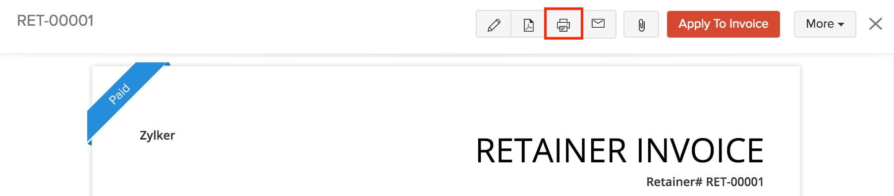 Print Retainer Invoice
