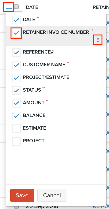 Rearrange Retainer Invoices