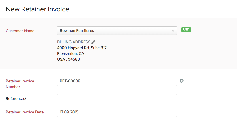 Create Send Retainer Invoices Help Zoho Books - Open invoice definition