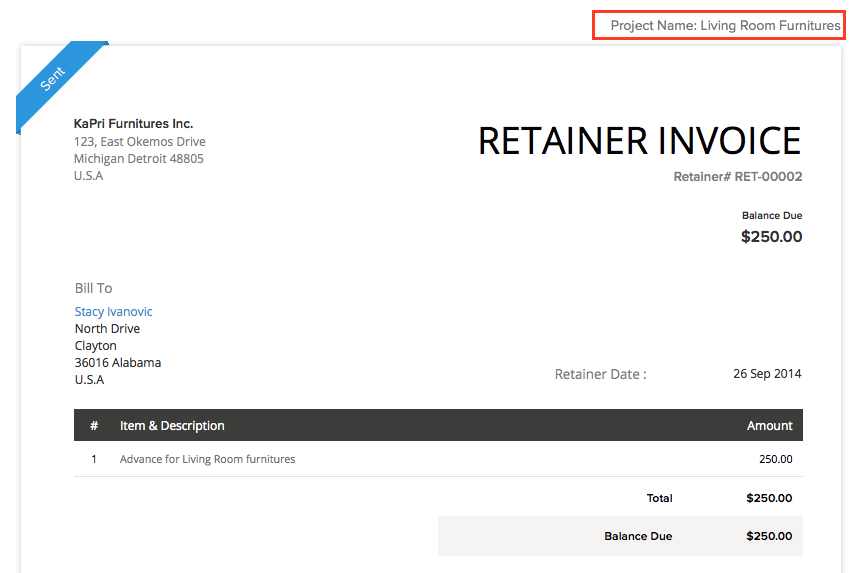 retainer invoice template  Retainer Invoice in Projects | Help | Zoho Books