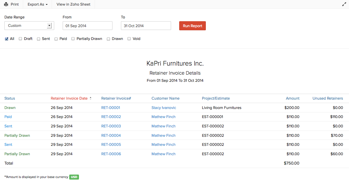 Reports For Retainer Invoices Help Zoho Books - Invoice details