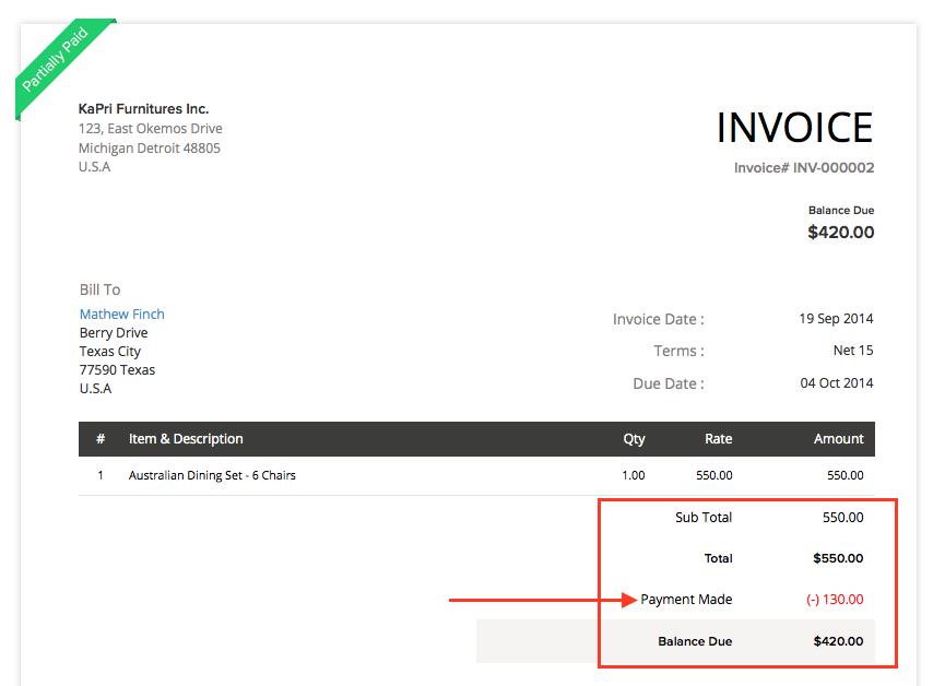 Adjustment in Invoice