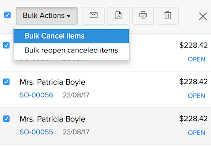 Bulk Cancel Items