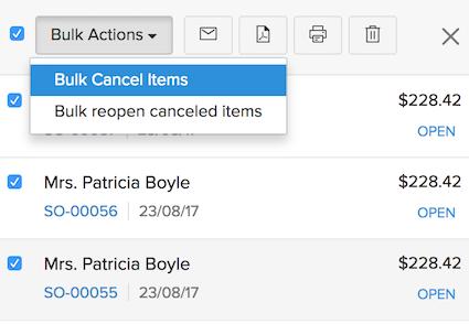 Bulk Cancel Items