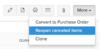 Cancel Items Reopen