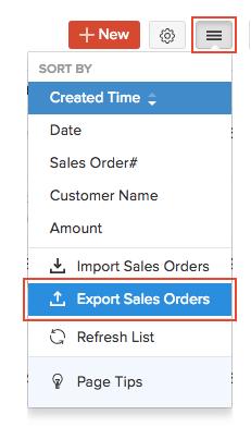 Export Sales Orders