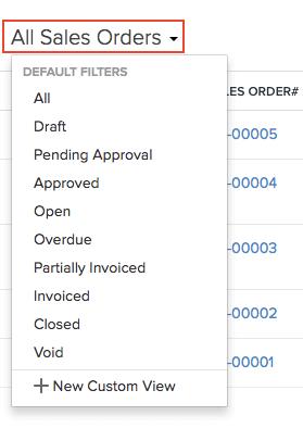 Filter Sales Orders
