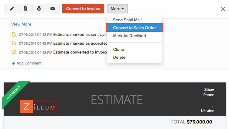 Converting an estimate into sales order