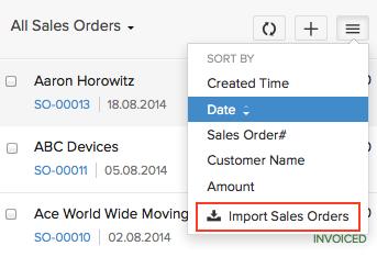 Import sales orders
