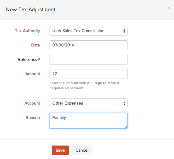 Creating a tax adjustment