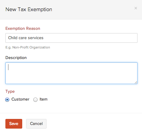 Create a new tax exemption