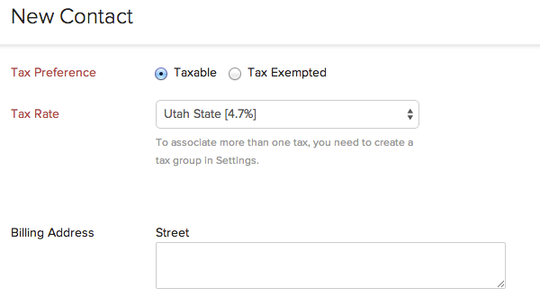 Associating tax for a contact