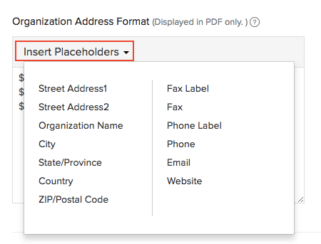 Insert Address Placeholders