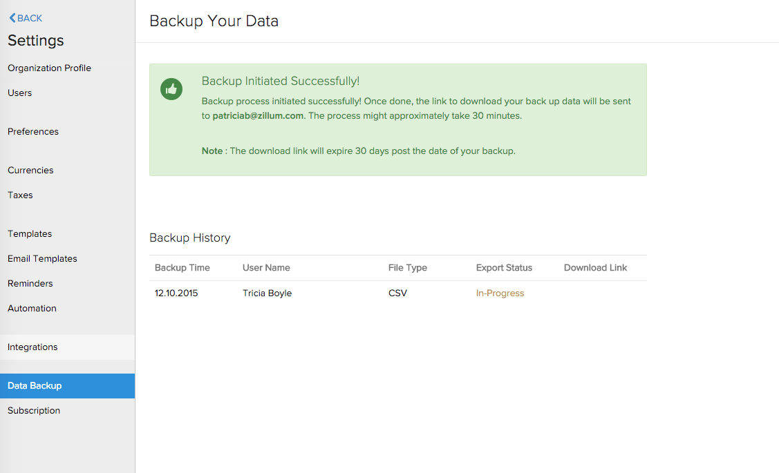 Back Up Your Data | Help | Zoho Books