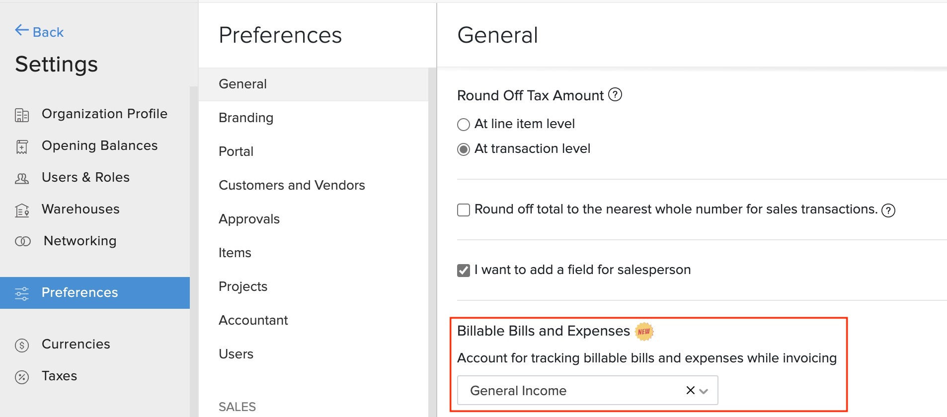 Billable Bills Preference
