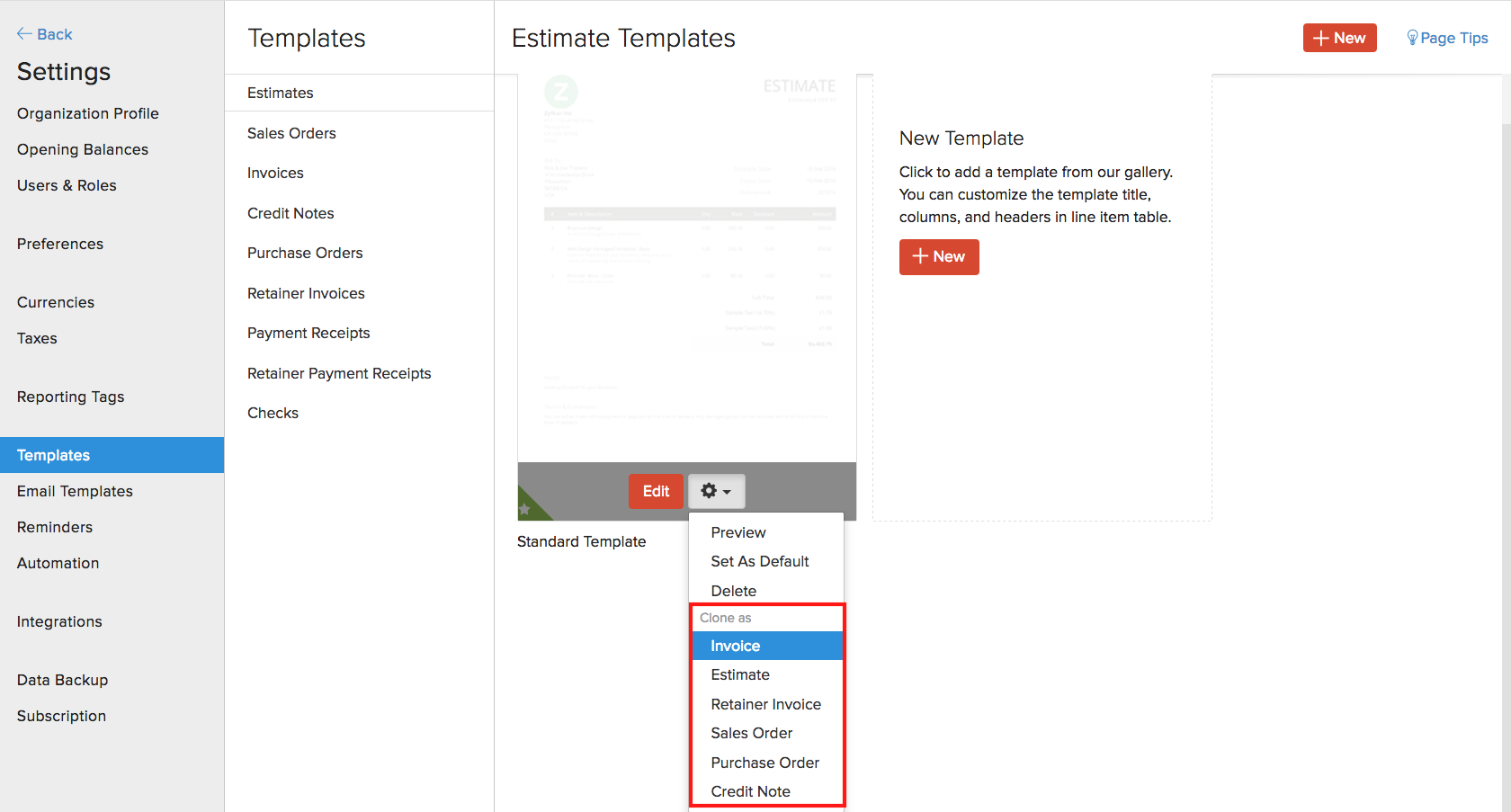 Templates | User Guide | Zoho Books