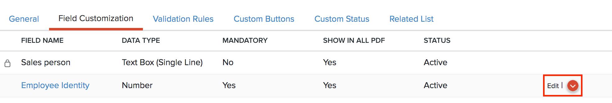 Edit Custom Field Icon