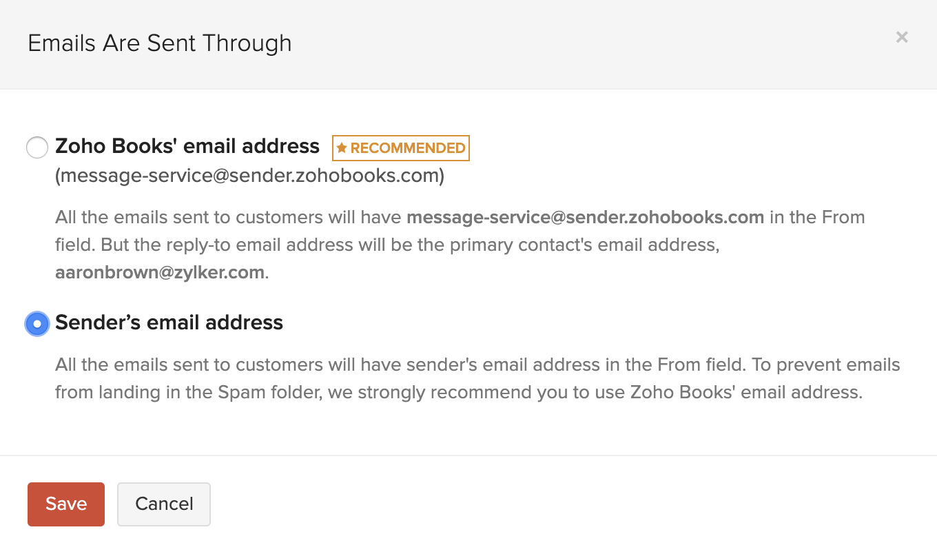 Switch to Sender Email Address
