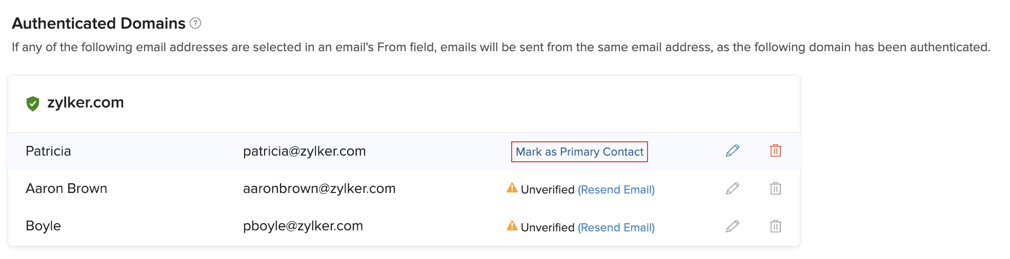 Mark Primary Contacts