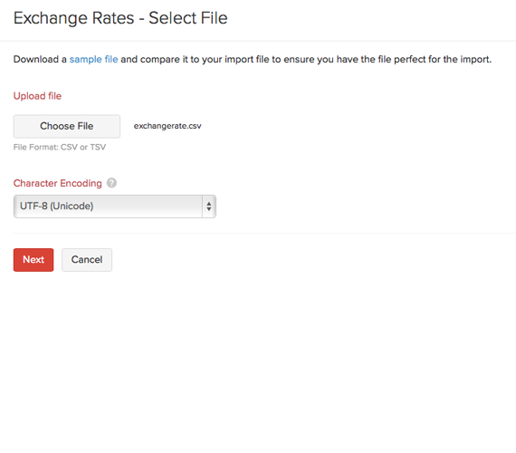 Exchange rates - Select file