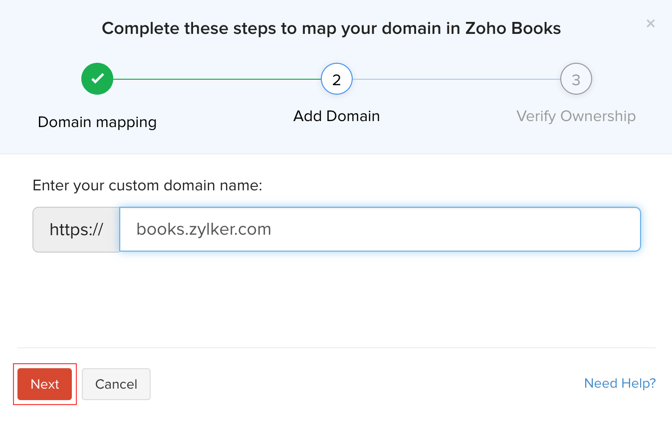 Custom Domain Mapping | Help | Zoho Books on