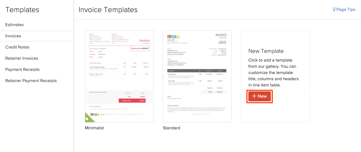templates | user guide | zoho books, Invoice templates