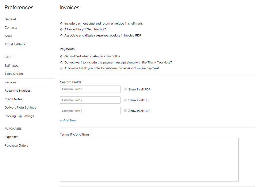 Preferences User Guide Zoho Books - Invoice delivery system