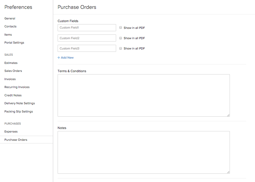 Purchase Order Preferences