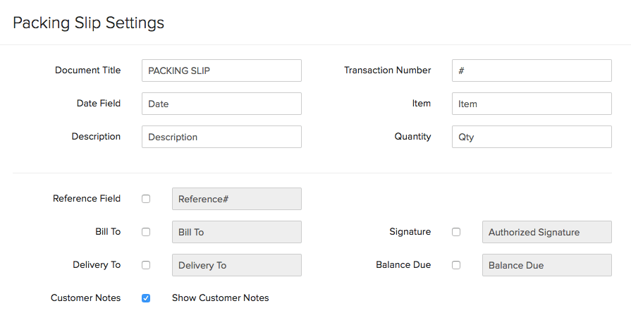 Package Slip Settings