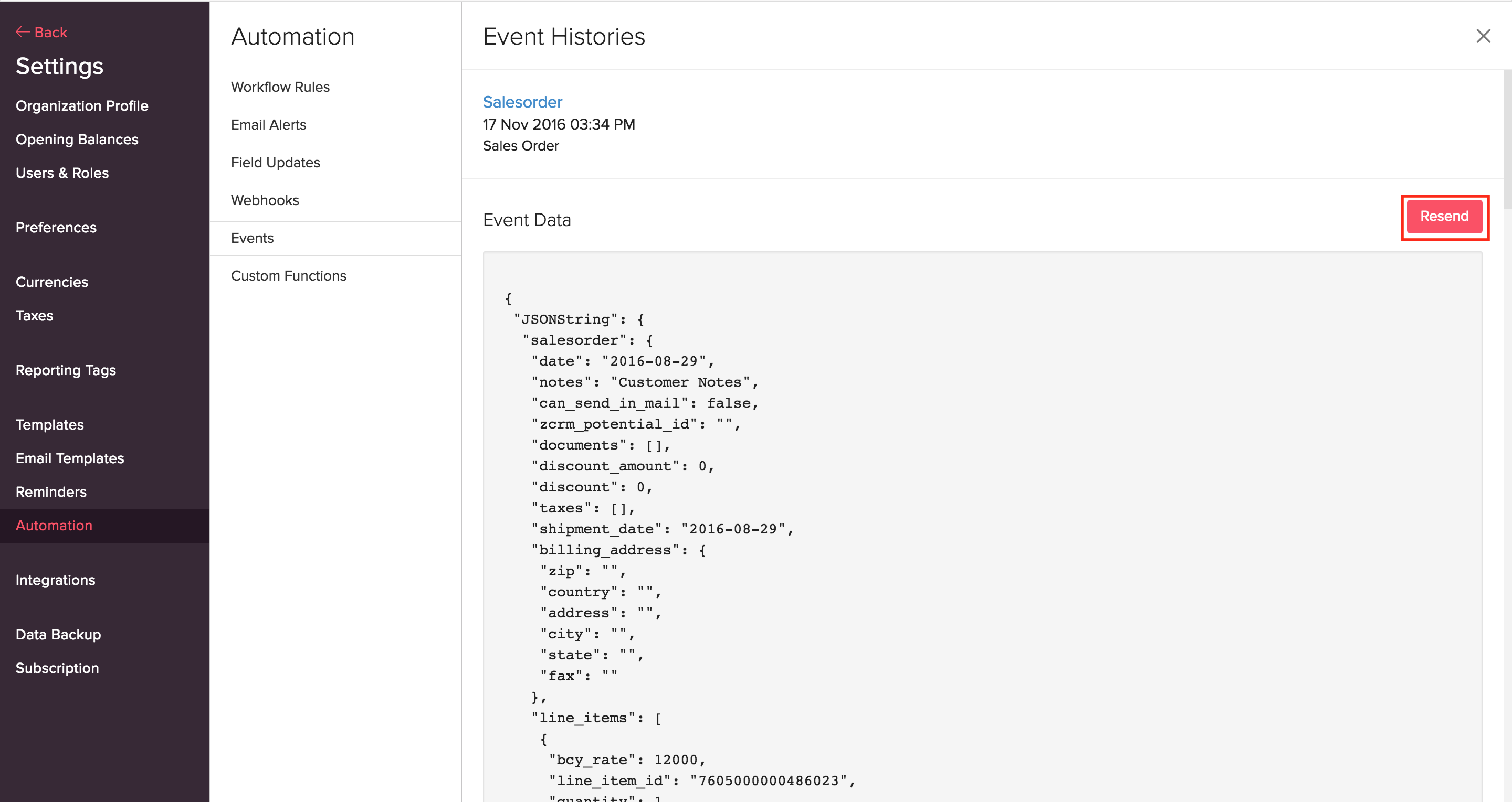 events Webhook