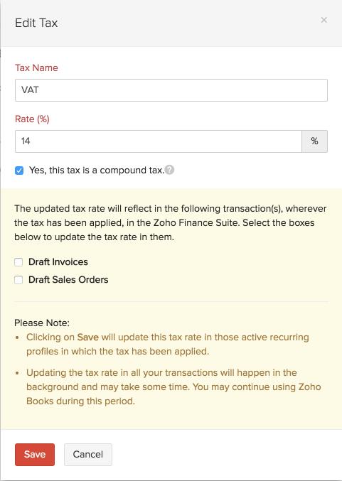 Update Tax Rate