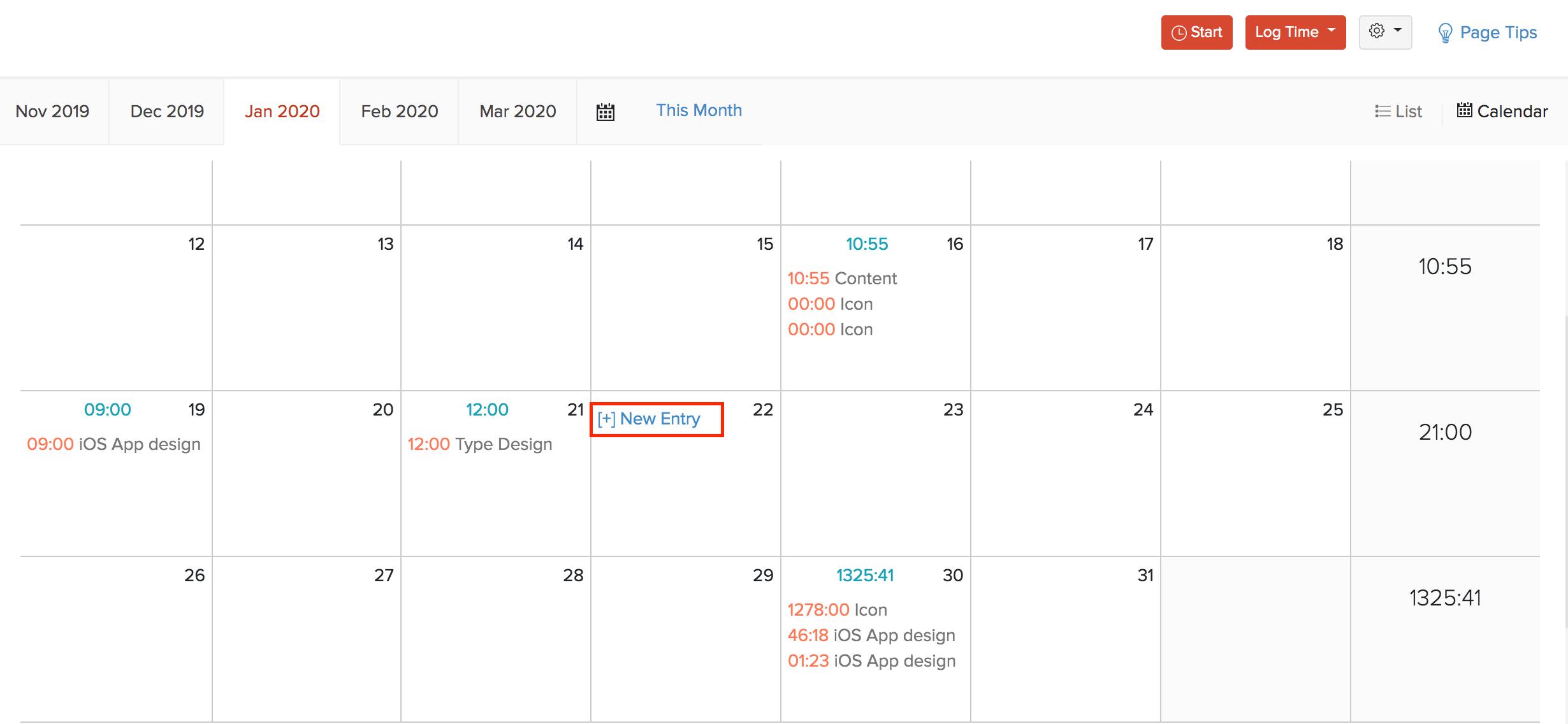 Calendar View Timesheet
