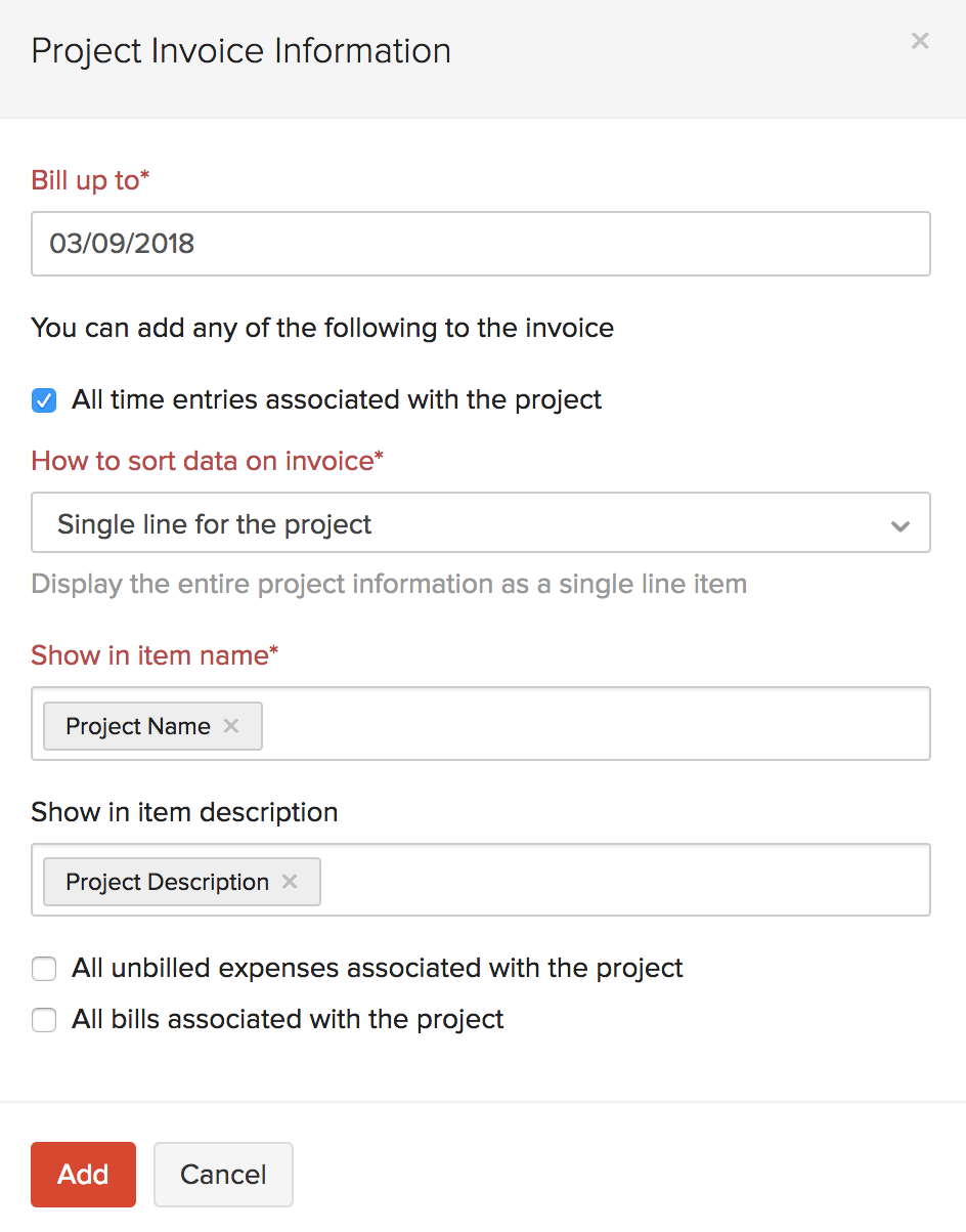 Project Invoice Information