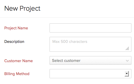create project timesheets zoho books
